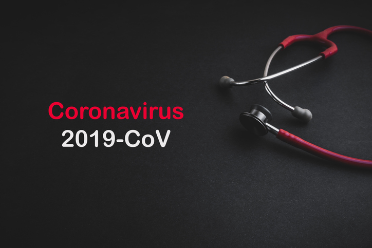Coronavirus 2019 text with a stethoscope.
