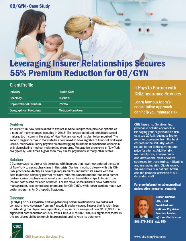 Leveraging Insurer Relationships Secures 55% Premium Reduction for OB/GYN