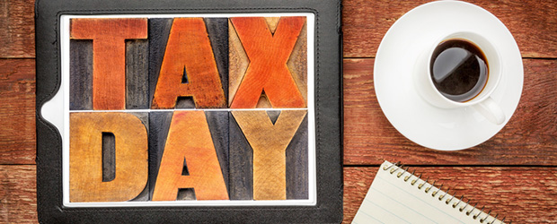 Tax Day in block letters.