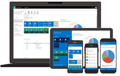 A laptop, tablet and mobile device displaying Microsoft Dynamics 365.