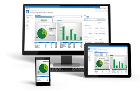 A desktop, tablet and mobile device featuring Microsoft Dynamics GP.