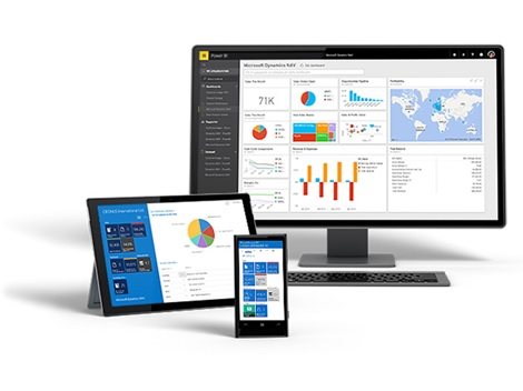 A desktop, tablet and mobile device featuring Microsoft Dynamics NAV