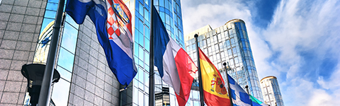 Four country flags against tall buildings