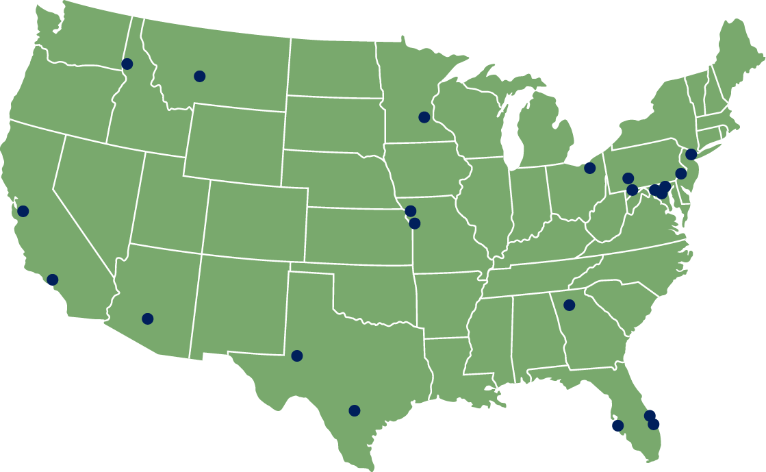LocationsA map of CBIZ Insurance locations across the United States