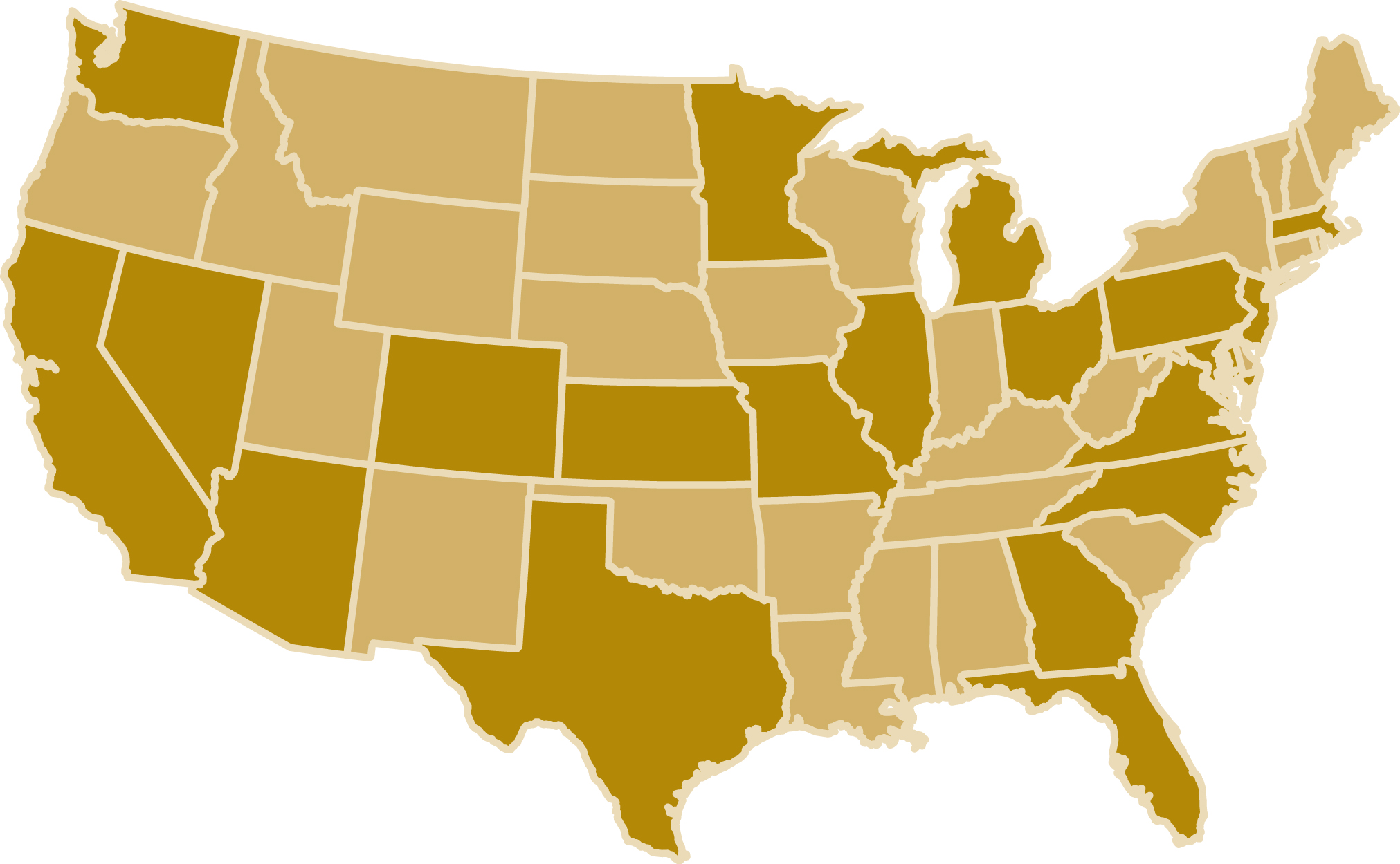 A map of the United States showcasing CBIZ Retirement Plan Services locations